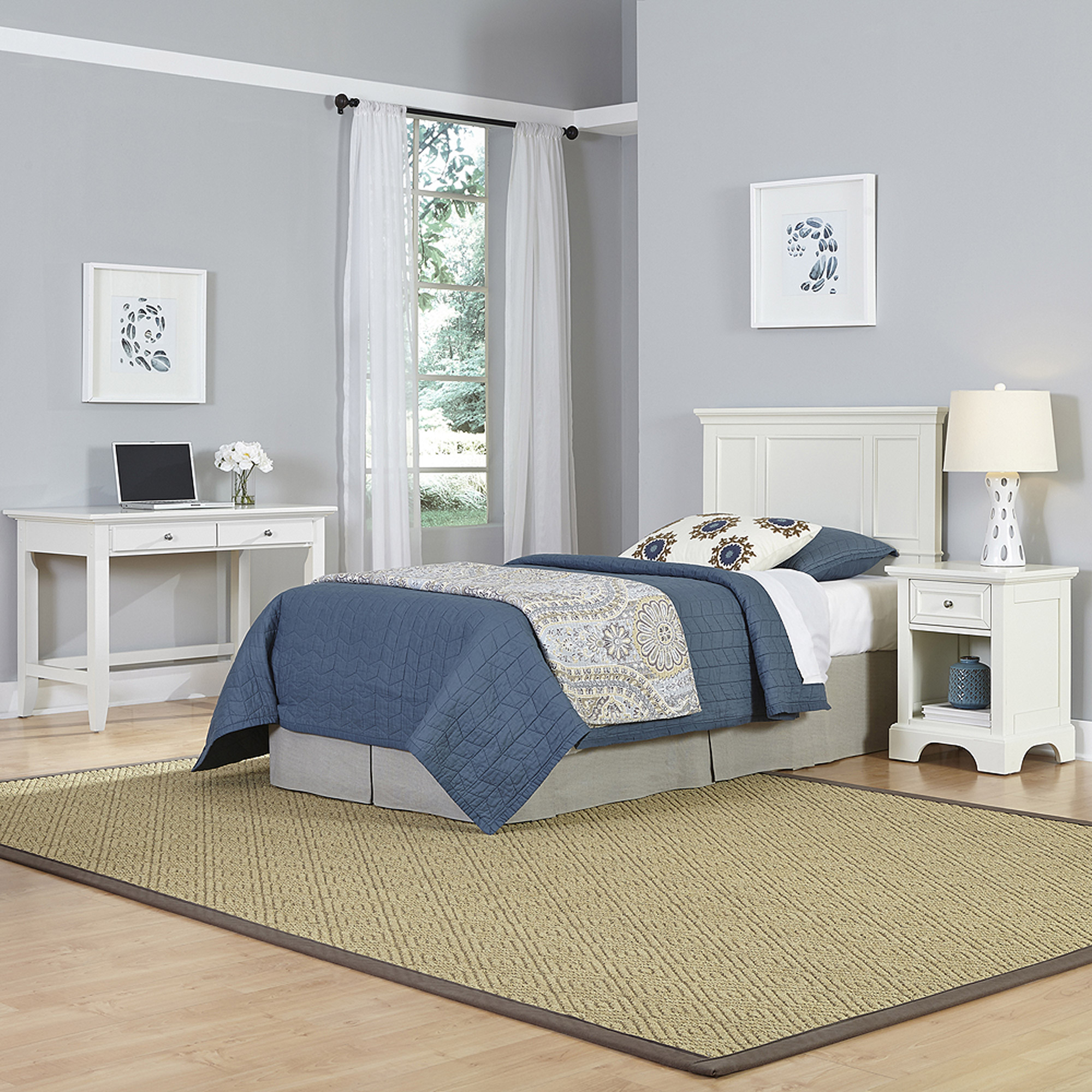 Home Styles Naples Twin Headboard, Night Stand and Student Desk