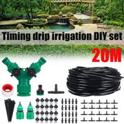 20M 66Ft Automatic Micro Water Drip Irrigation System Plant Self Watering Garden Hose Kits For Home Garden Hanging Basket Watering Automatic Kit Plant Flower
