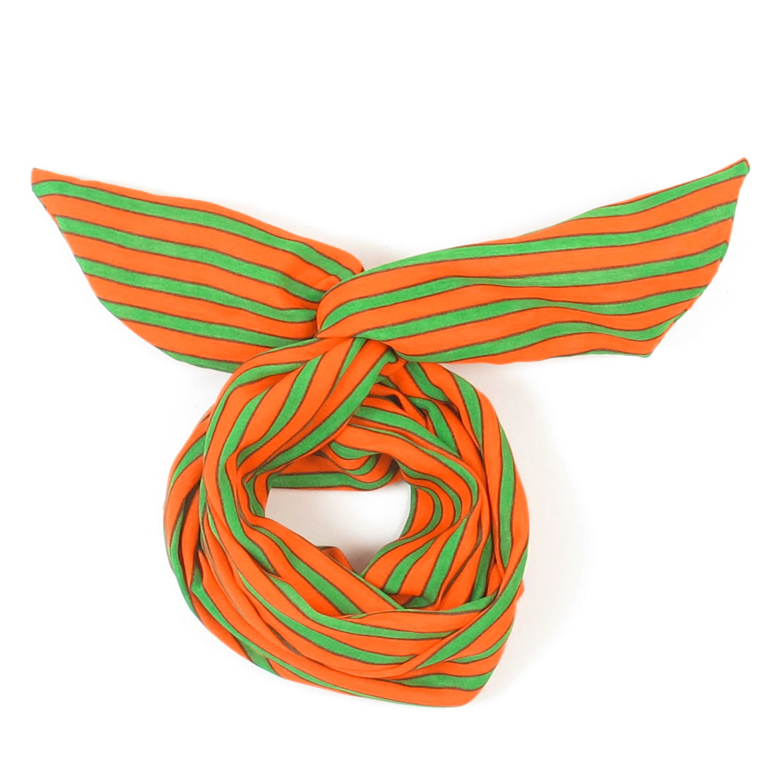 Unique BargainsWomen Striped Print Fabric Coated Wire Hair Wrap Scarf Head Band Green Orange