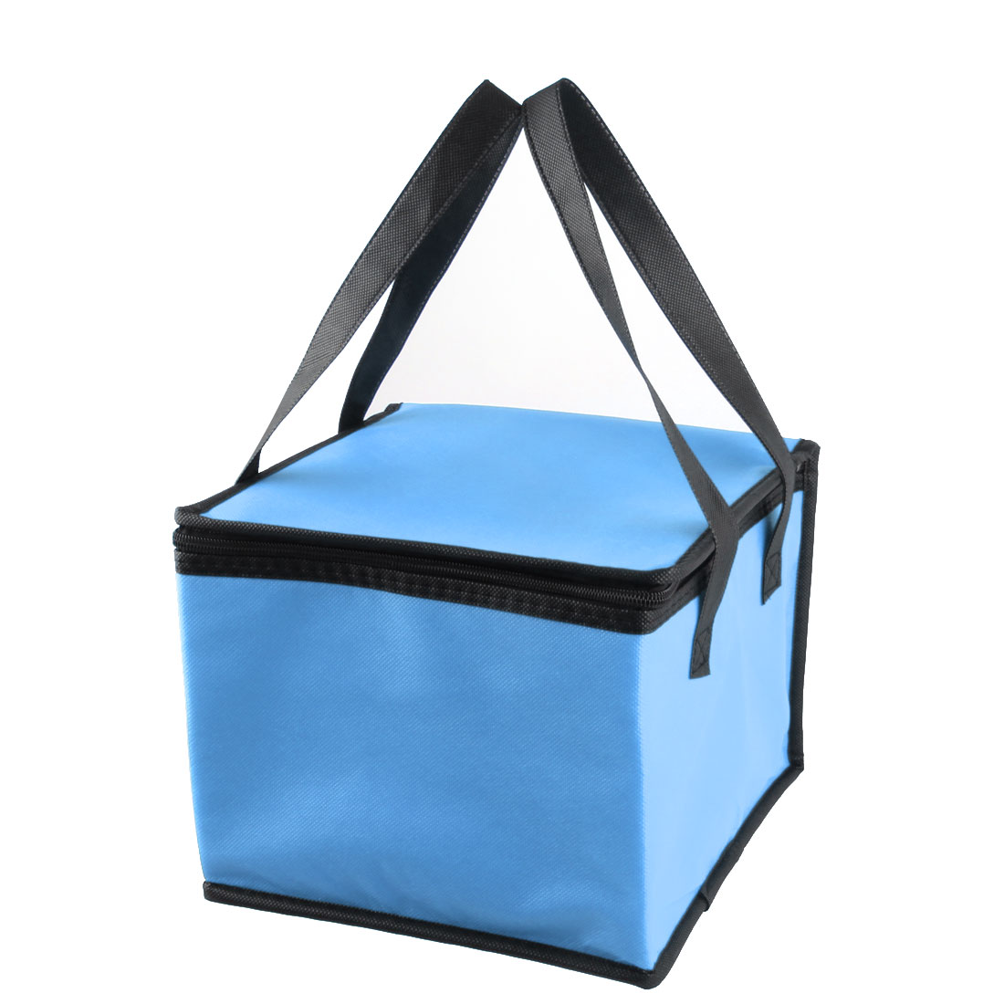Travel Square Shaped Zippered Food Drink Holder Handle Cooler Lunch Picnic Bag