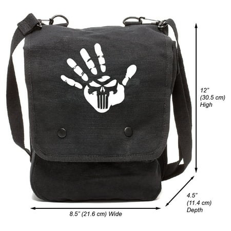 Grab A Smile Punisher We Know Handprint Canvas Crossbody Travel Map Bag