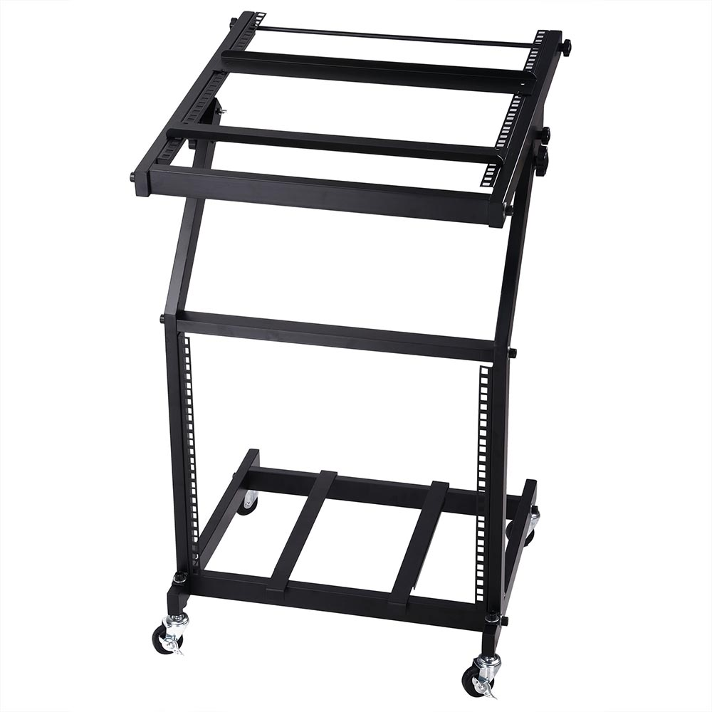 DJ Rack Mount Studio Mixer Stand Rolling Stage Cart Adjustable Music Equipment Party Show... by Yescom