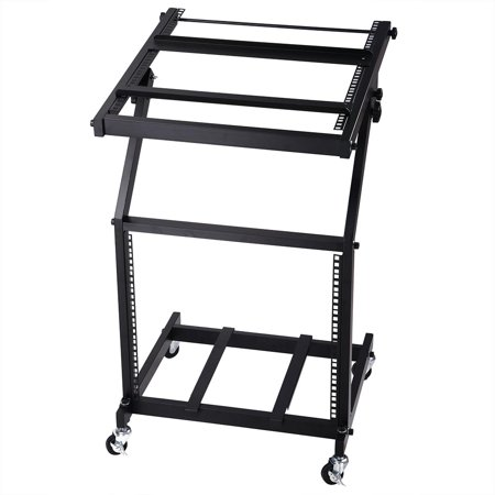 DJ Rack Mount Studio Mixer Stand Rolling Stage Cart Adjustable Music Equipment Party Show - Party Equipment