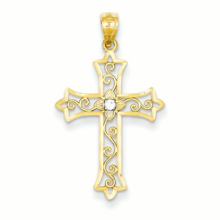 14K Yellow Gold Diamond Fleur de Lis Cross Charm Pendant 14k White Gold Cross Charm
