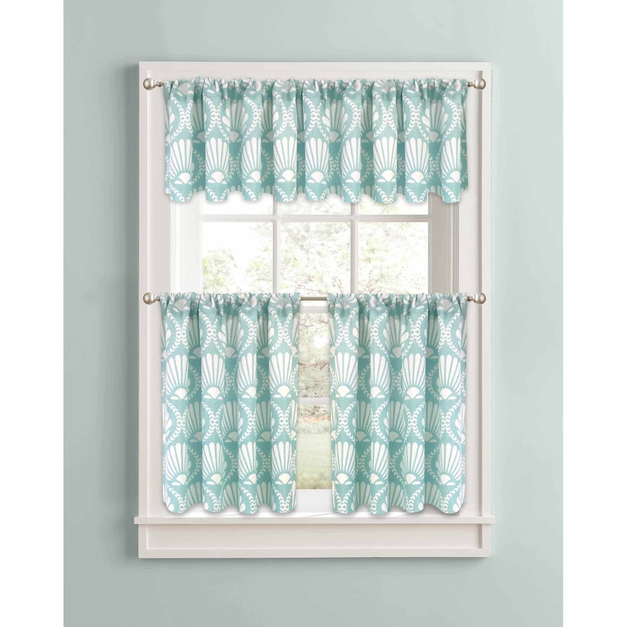 Better Homes and Gardens Aqua Venus Shells Kitchen Curtains, Set of 2 or Valance