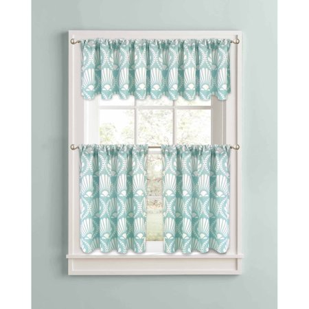 Better Homes And Gardens Aqua Venus Shells Kitchen Curtains Set Of 2 Or Valance