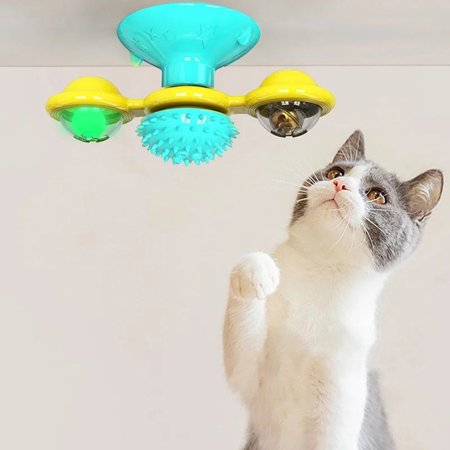 Windmill Cat Toy Turntable Teasing Pet Toy Scratching Tickle Cats Hair Brush Funny Cat Toy Hair Brush Chew Toys - image 4 de 5
