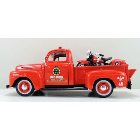 1948/1936 Ford F-1 Pickup Harley-Davidson /El Knucklehead Motorcycle, Red - Maisto HD 32191R - 1/24 scale diecast model car
