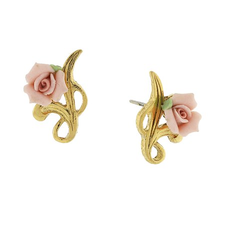 14k Gold Tone Pink Porcelain Rose Post -