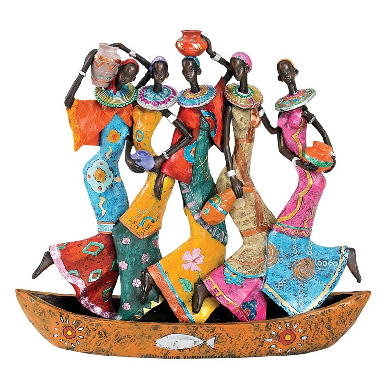 Design Toscano 10.5 in. The Maiden Water Carriers of Ghana Sculpture