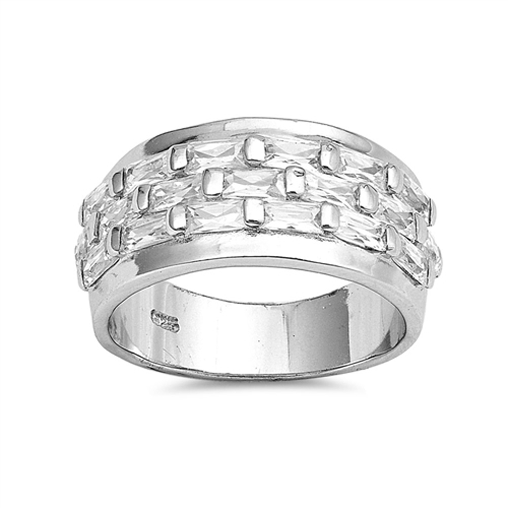 Small Rectangle White CZ Ring ( Sizes 6 7 8 9 10 ) New .925 Sterling Silver Wedding Band Rings by Sac Silver (Size 10)