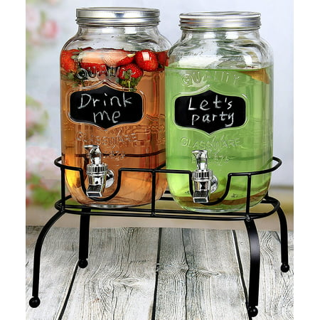 Estilo 1 Gallon Glass Mason Jar Double Drink Dispenser