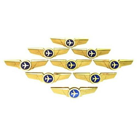 Kids Aviator Pilot Wings Plastic Pins Pinbacks Badges Lot of 10 Pins