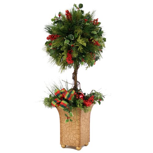 Distinctive Designs Artificial Pine and Cedar Ball Topiary with Berries in Butternut Crackle Tole Planter