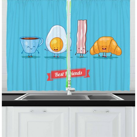 Bacon Curtains 2 Panels Set, Comic Figures of Breakfast Menu as Cup of Coffee Egg Bacon Croissant Best Friends, Window Drapes for Living Room Bedroom, 55W X 39L Inches, Multicolor, by