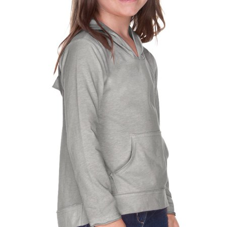Girls 3-6X Sheer Jersey Long Sleeve Hoodie with Pouch, Style PJP0629