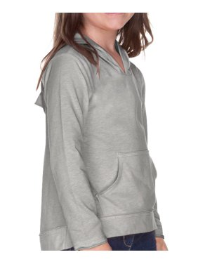 Kavio! Girls 3-6X Jersey RawEdge High Low Long Sleeve Hoodie w.Pouch Dark Heather Gray 5/6