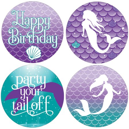Mermaid Party Favor Stickers | 40 count | 1 3/4 inch | Happy Birthday Thank You Tag Labels