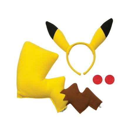 Child's Pikachu Electric Pokemon Headband Cheeks And Tail Costume Accessory Kit
