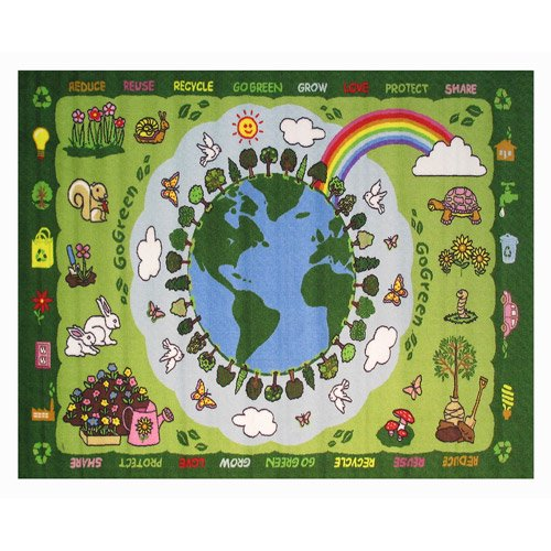 "Fun Rugs Go Green Kids' Rug, Green, 4'3"" X 6'6"""