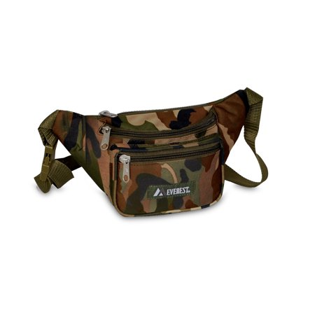 - Signature Woodland Green 11.5-inch Camo Waist Fanny Pack