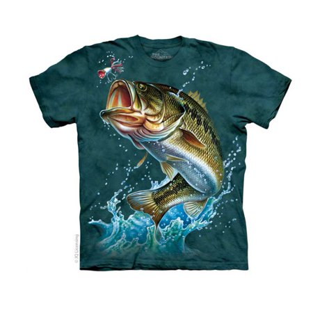 Bass adult t shirt fish fishing tee large water ocean for Walmart fishing shirts