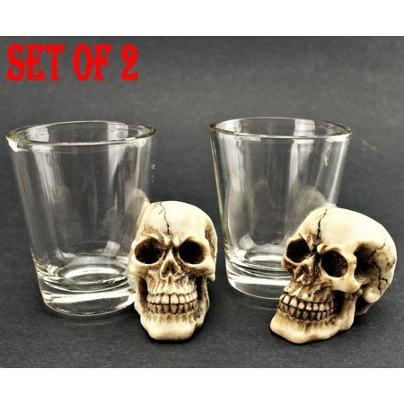 [ Set of 2] Unique Skull Shot Glass Skull Head Cup Spooky Pirate Shot for Wine Vodka Whiskey Cocktail, Party Bar - Halloween Themed Vodka Cocktails