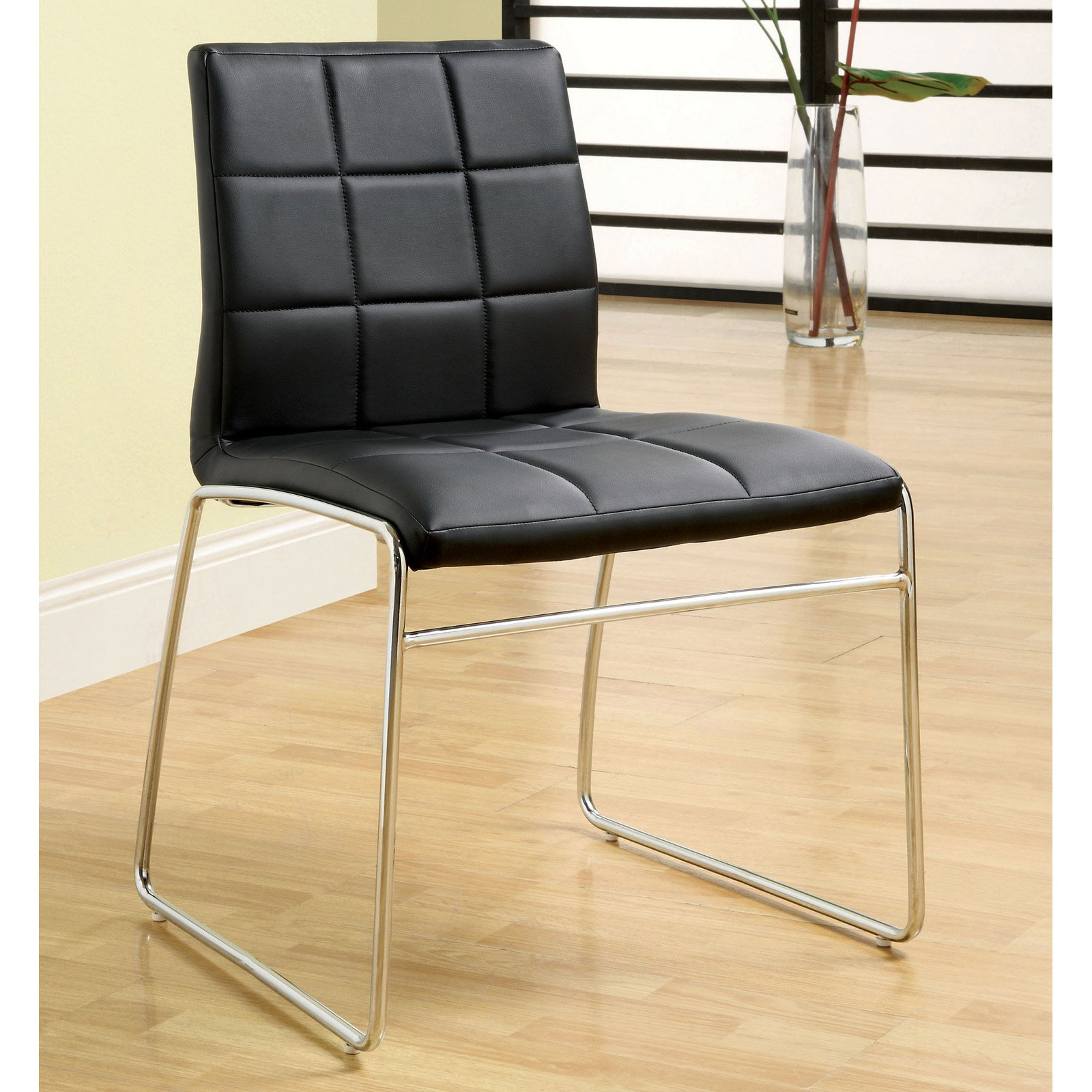 d057667c1e3a30 Furniture of America Bronzes Leatherette Dining Side Chairs - Set of 2 -  Walmart.com