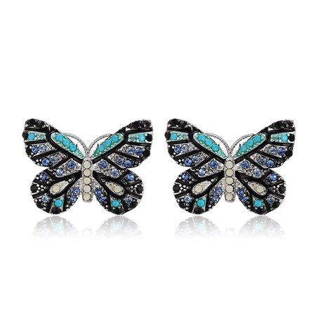 Colorful Multi Blue Colored Butterfly Stud Earrings  Luxury Collection