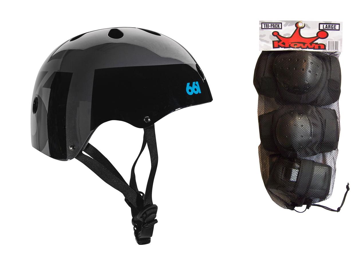 661 Dirt Lid Skate BMX Helmet Black CPSC with Knee Elbow Wrist Pads Large by