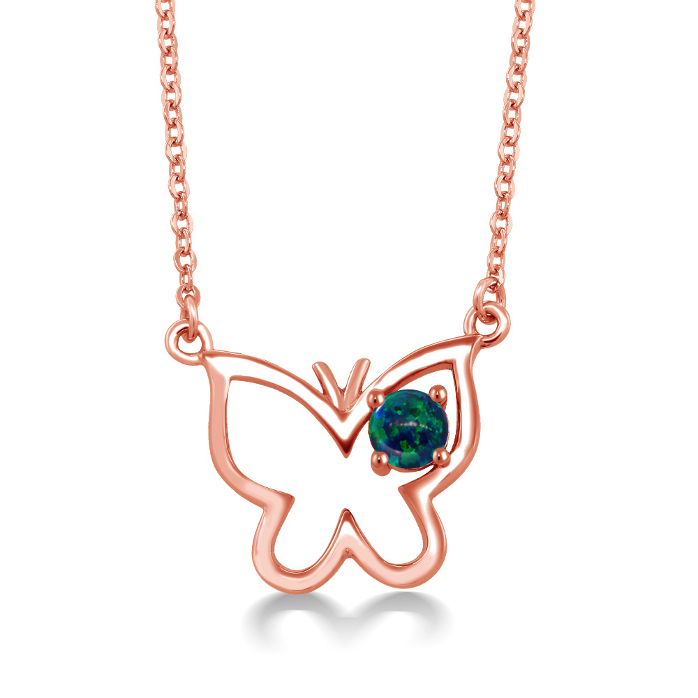 0.25 Ct Round Cabochon Green Simulated Opal 18K Rose Gold Plated Silver Necklace by