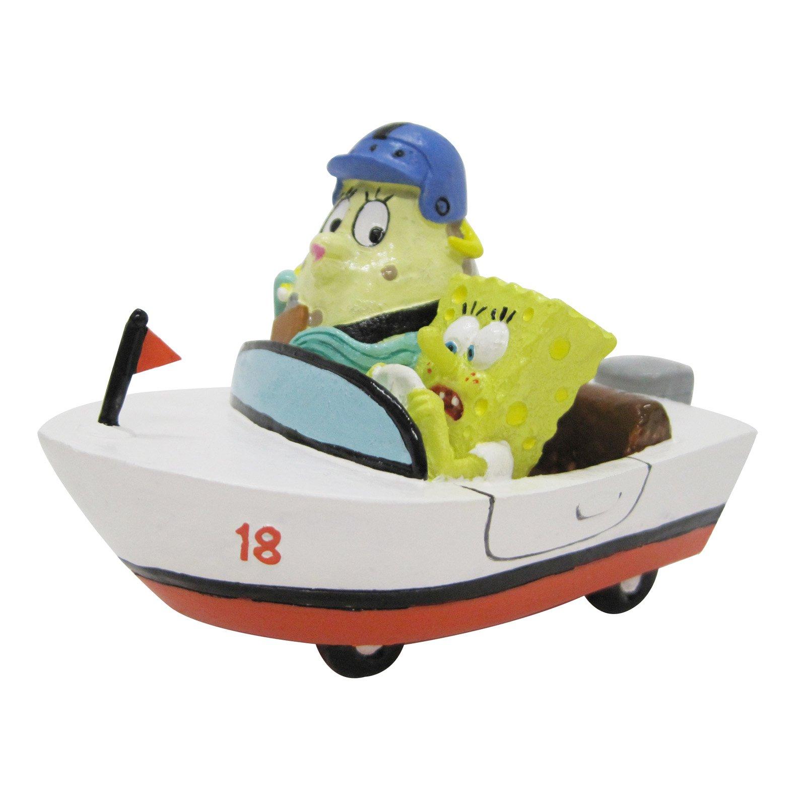 Penn Plax SpongeBob and Mrs. Puff in Rowboat Aquarium Figure