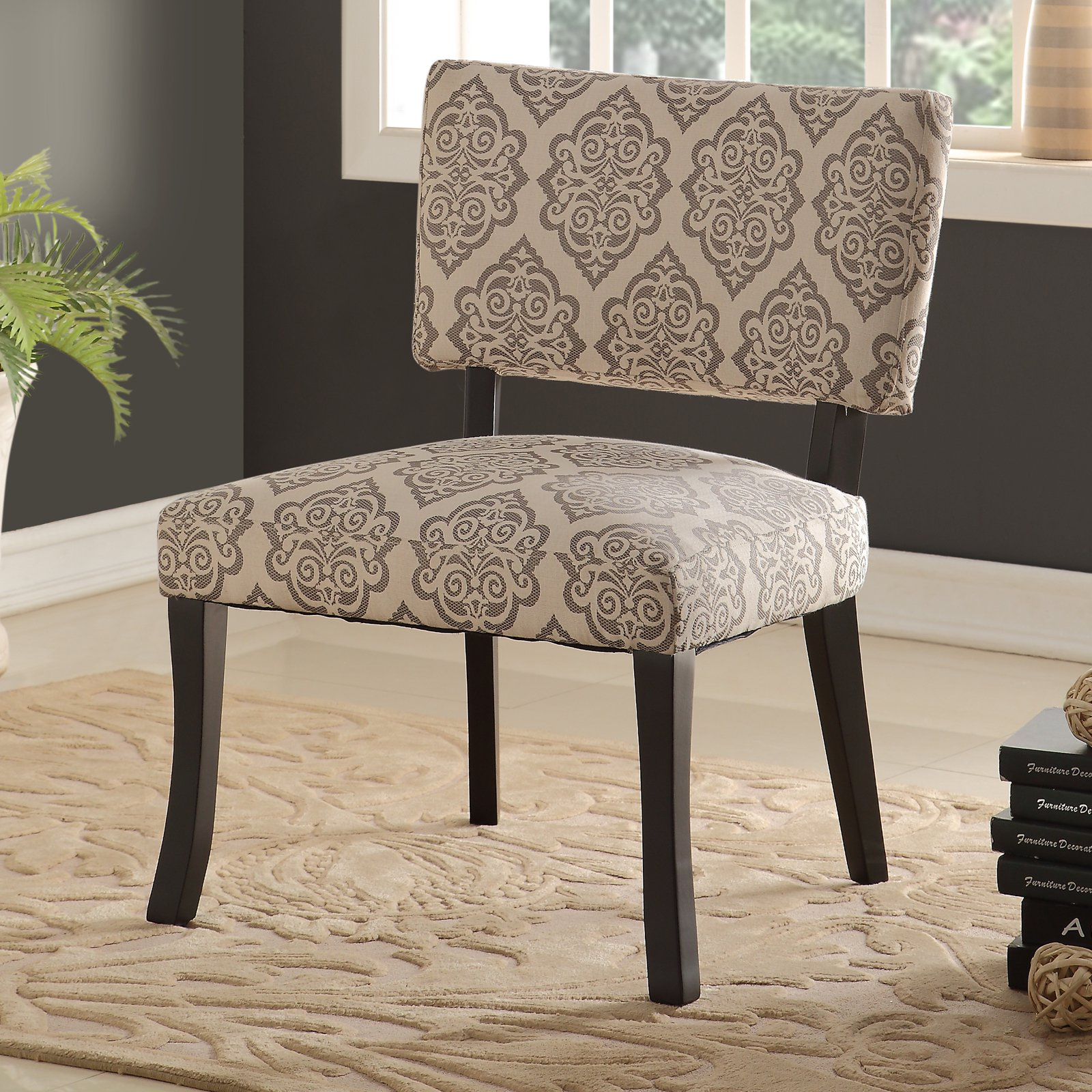 Bella Upholstered Accent Chair, Black Legs