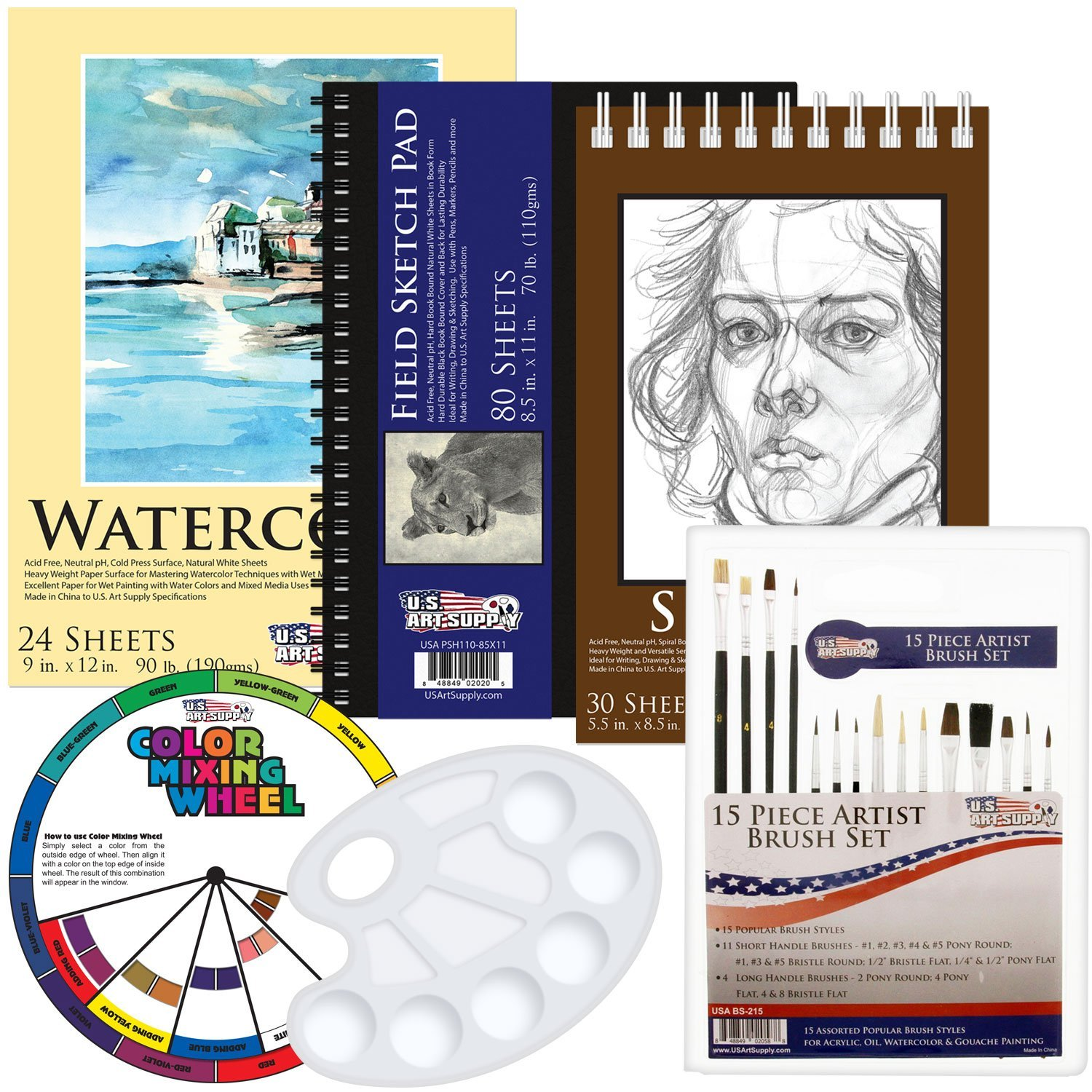 """Art Supplies 9/"""" x 12/"""" Premium Oil Painting Paper Pad 90 Pound 15 Sheets 2 Pack"""
