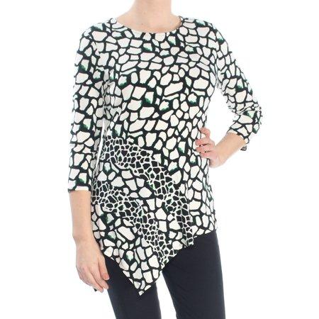 ALFANI Womens Black Asymmetrical Printed 3/4 Sleeve Jewel Neck Top  Size: M