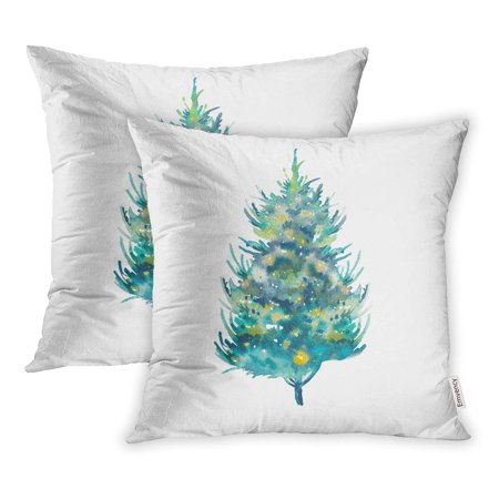 YWOTA Green Artistic Watercolor Christmas Tree Holiday Object Winter Bright Pillow Cases Cushion Cover 20x20 (Best Way To Put Lights On A Christmas Tree)