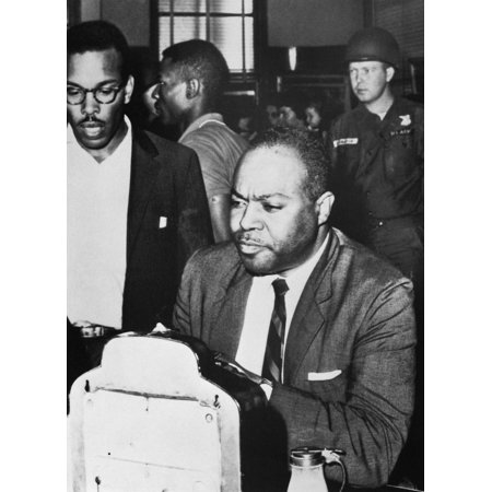 James Farmer  1920 1999  Njames Leonard Farmer Jr American Civil Rights Activist Sitting At A White Only Lunch Counter At A Bus Station In Montgomery Alabama As National Guardsmen Stand By 1961 Rolled