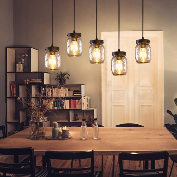 Wellmet Farmhouse Chandelier Glass, Farmhouse Dining Room Lighting