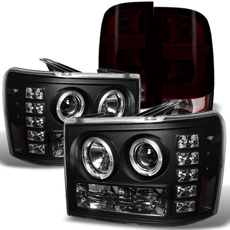 Fits 2007-2013 GMC Sierra Halo LED Black Headlights + Red Smoked Tail