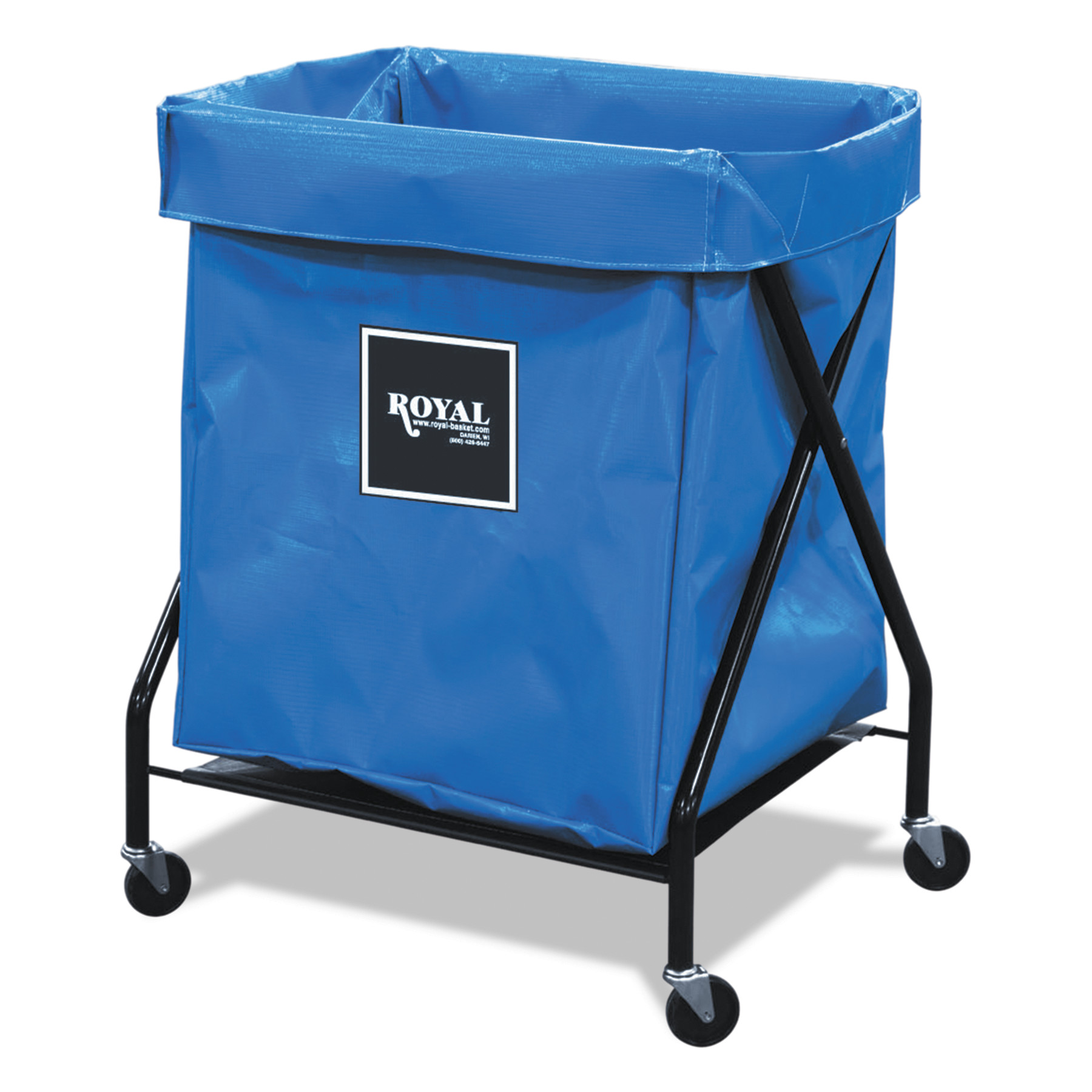 Royal Basket Trucks 8 Bushel X-Frame Cart with Vinyl Bag, 21 x 26 x 36, 150 lbs. Capacity, Blue