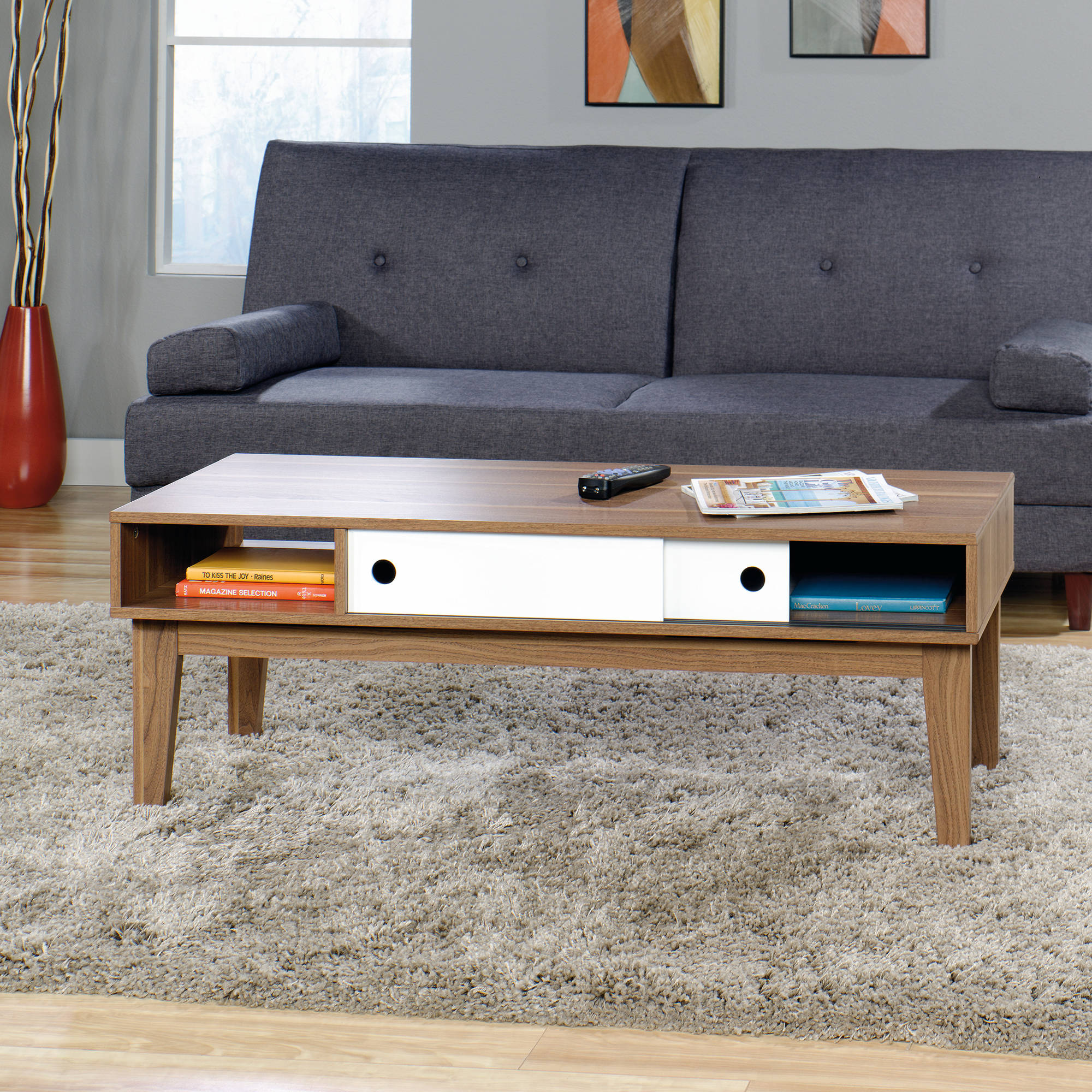 Sauder Soft Modern Coffee Table Walnut Finish with White Accent