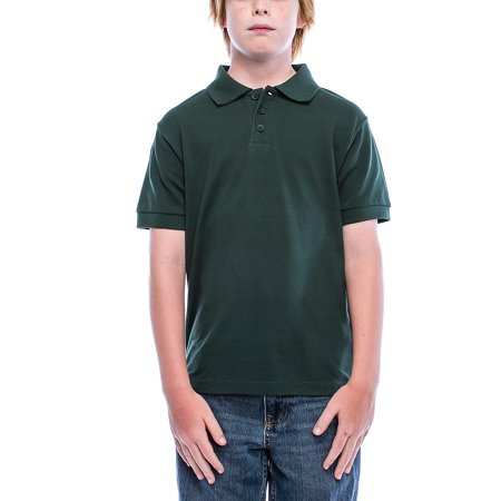 0fe916a7 Boys Big Boy's Short Sleeve 3 Button Plain Polo Shirts for Boys 1100-12-Hunter  Green - Walmart.com