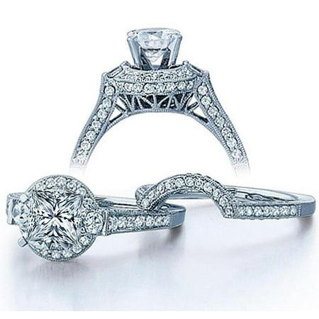 Moissanite Wedding Ring 2.50 Carat Princess cut Diamond Moissanite Ring Set with 18k Gold Plating 18k White Gold Moissanite Ring