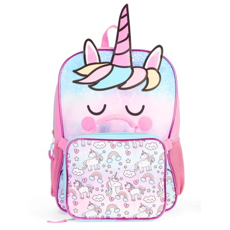 Girls' Unicorn Backpack With Lunch Bag