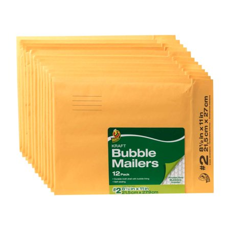 Duck Brand 8.5 In. x 11 In. (Size 2) Kraft Bubble Mailer, 12-Pack