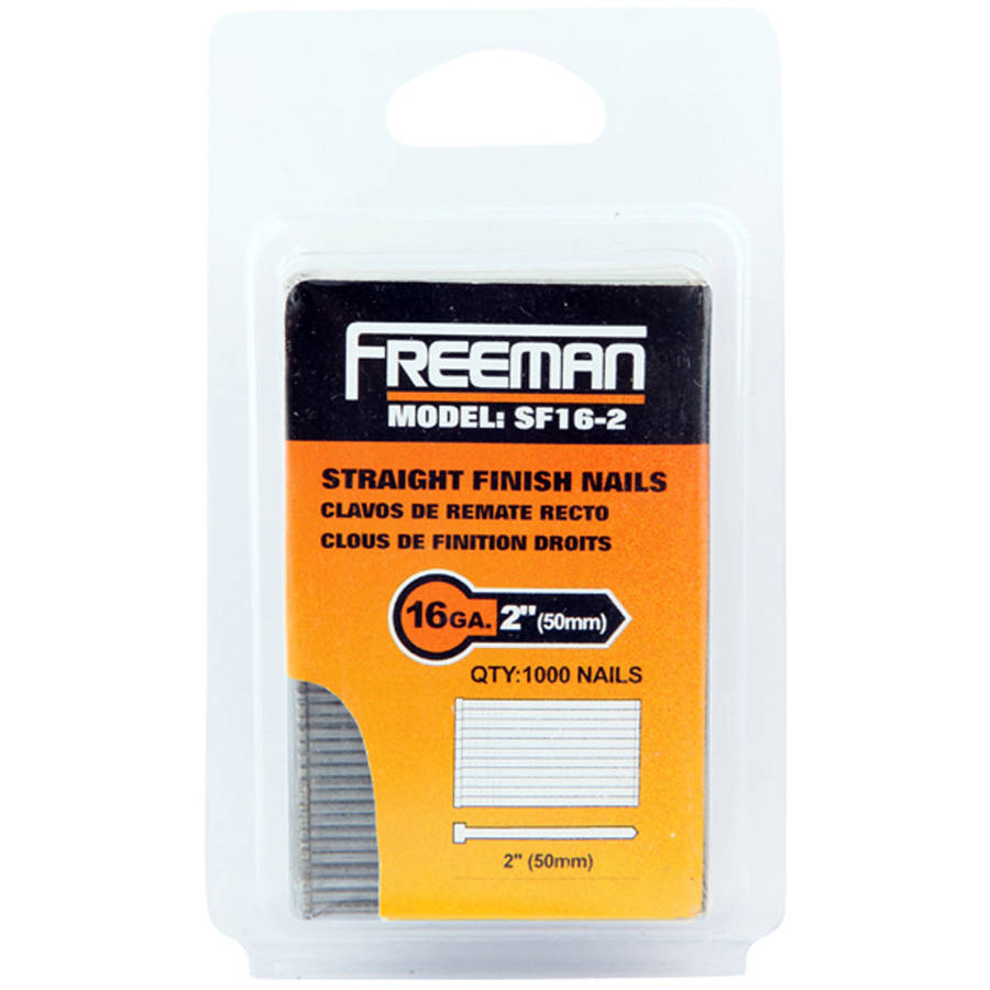 Freeman SF16-2 16 GA 2 Inch Straight Finish Nails, 1000 Count