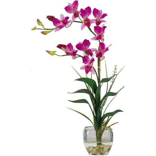 Dendrobium with Glass Vase Silk Flower Arrangement, Purple