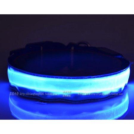 medium LED Light Up Dog Collar Nylon Pet Night Safety Bright Flashing Adjustable NEW - image 3 de 5