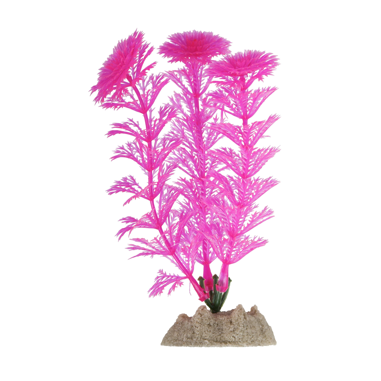 (2 Pack) GloFish Pink Fluorescent Aquarium Plant Decoration, Small