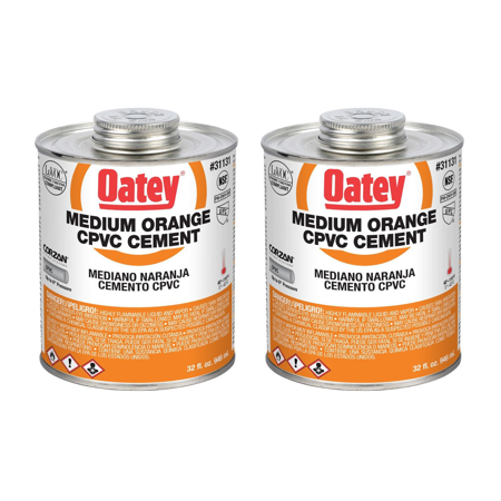 Oatey 32 Oz. CPVC Pipe Hot and Cold Systems Solvent Cement Glue, Orange (2 Pack)